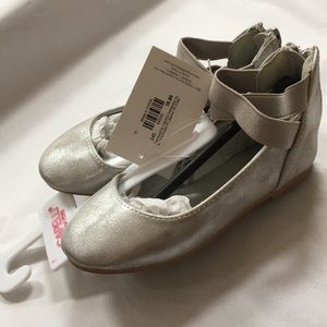 7 CAPELLI  flats METALLIC SILVER ballet zipper NEW